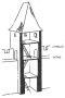 Heslo : cimbuří - hradební věž s ochozem s cimbuřím - kresba akad. arch. Antonín Kryl