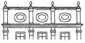 Heslo : atika - příklad atiky - kresba akad. arch. Antonín Kryl