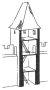Heslo : bašta - hranolová hradební věž dozadu otevřená - kresba akad. arch. Antonín Kryl
