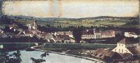 Obec : Jince - pohled na obec se zámkem - pohlednice z r. 1901 (soukromá sbírka)