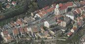 Obec : Úštěk - letecký pohled na centrum města