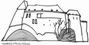 Hrad : Kámen - hrad - kresba, Marcela Vichrová (fix, papír)
