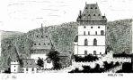 Hrad : Karlštejn - pohled na hrad - kresba podle předlohy: Josef Šafránek st.