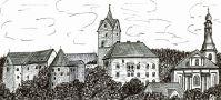 Hrad : Loket - pohled na hrad - kresba podle předlohy: Josef Šafránek st.