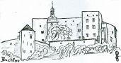 Hrad : Buchlov - pohled na hrad - kresba podle předlohy: Josef M. Šafránek