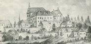 Zámek : Staré Hrady - pohled na zámek (kresba od neznámého autora z r. 1775) - pohlednice (soukromá sbírka)