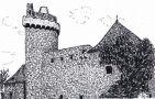 Hrad : Strakonice - pohled na hrad - kresba podle předlohy: Josef Šafránek st.