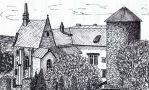 Hrad : Šternberk - pohled na hrad - kresba podle předlohy: Josef Šafránek st.