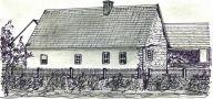 Tvrz : Balkova Lhota - západní průčelí domu se zbytky tvrze - kresba podle fotografie z 30. let 20. st.: Josef Šafránek st.
