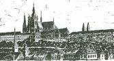 Hrad : Pražský hrad, areál hradu - celkový pohled - kresba podle předlohy: Josef Šafránek st.