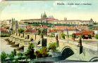 Hrad : Pražský hrad, areál hradu - pohled z Novotného lávky - pohlednice kolem r. 1918 (soukromá sbírka)