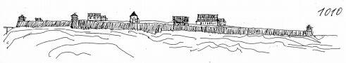Hrad : Pražský hrad, areál hradu - pohled na hrad v r. 1010 - kresba, Viktor Procházka (fix, papír)