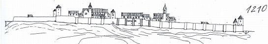 Hrad : Pražský hrad, areál hradu - pohled na hrad v r. 1210 - kresba, Viktor Procházka (fix, papír)