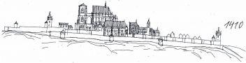 Hrad : Pražský hrad, areál hradu - pohled na hrad v r. 1410 - kresba, Viktor Procházka (fix, papír)