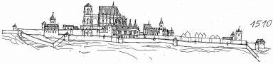 Hrad : Pražský hrad, areál hradu - pohled na hrad v r. 1510 - kresba, Viktor Procházka (fix, papír)