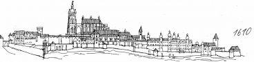 Hrad : Pražský hrad, areál hradu - pohled na hrad v r. 1610 - kresba, Viktor Procházka (fix, papír)