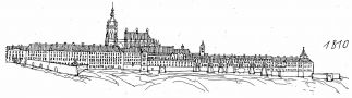 Hrad : Pražský hrad, areál hradu - pohled na hrad v r. 1810 - kresba, Viktor Procházka (fix, papír)