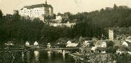 Hrad : Český Šternberk - pohled na hrad - pohlednice ze 40. let 20. st. (soukromá sbírka)