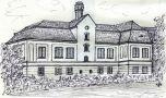 Zámek : Bečváry, nový zámek - severní průčelí (stav z r. 1977) - kresba podle předlohy: Josef Šafránek st.
