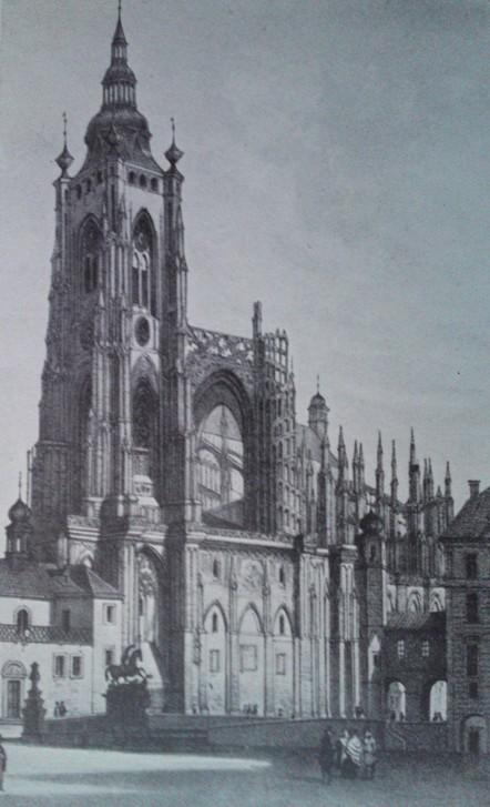 Objekt : katedrála sv. Víta - velká (jižní) věž - převzato: Literární atlas Československý I. (podle Sandmannovy litografie)