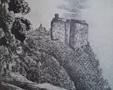 Zámek : Houska - pohled na hrad - převzato: Literární atlas Československý I. (kresba K. H. Mácha)
